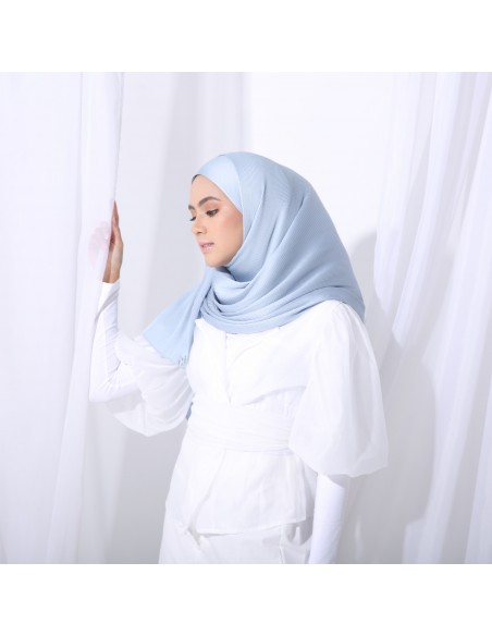 Tudung Irys Satin Pleats Shawl in Blue Ash - 2 Mataa Hijab