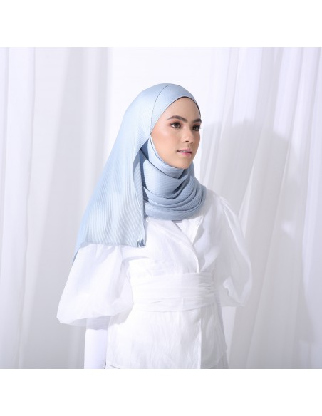 Tudung Irys Satin Pleats Shawl in Blue Ash - 1 Mataa Hijab