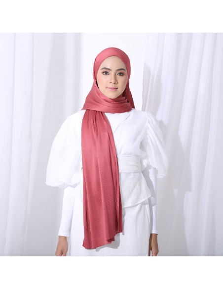 Tudung Irys Satin Pleats Shawl in Brick - 1 Mataa Hijab