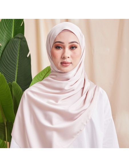 Tudung Ivy Soft Matte Satin Eyelash Shawl in Cream - 1 Mataa Hijab