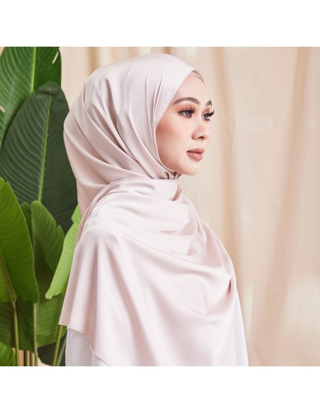 Tudung Ivy Soft Matte Satin Eyelash Shawl in Cream - 2 Mataa Hijab