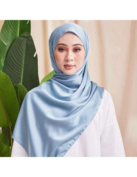 Tudung Ivy Soft Matte Satin Eyelash Shawl in SkyBlue - 2 Mataa Hijab